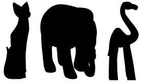 Silhuetas do vetor de vários animais Imagem de Stock