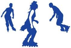 Silhuetas do vetor do adolescente da patinagem de rolo ilustração do vetor