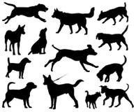 Silhuetas do vetor dos cães Foto de Stock Royalty Free