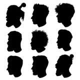 Silhuetas do vetor dos cortes de cabelo masculinos Para a barbearia do penteado Imagem de Stock