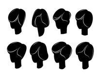 Silhuetas do vetor dos penteados das mulheres Fotos de Stock Royalty Free