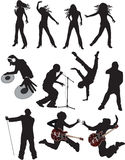 Silhuetas do vetor dos povos da música Imagens de Stock