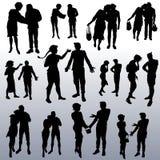 Silhuetas do vetor dos povos de idades diferentes ilustração royalty free
