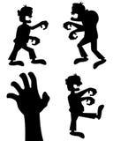Silhuetas do zombi de Dia das Bruxas ajustadas Imagens de Stock