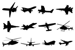 Silhuetas dos aviões Imagens de Stock Royalty Free