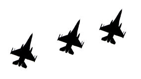 Silhuetas dos aviões de combate Fotos de Stock