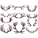Silhuetas dos chifres dos cervos Imagens de Stock Royalty Free