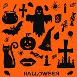 Silhuetas dos ícones de Dia das Bruxas Fotografia de Stock Royalty Free