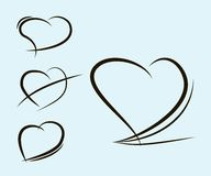 Silhuetas dos corações do vetor Foto de Stock