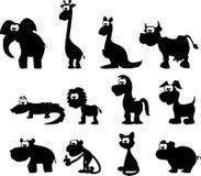 Silhuetas dos desenhos animados dos animais Fotografia de Stock
