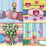 Silhuetas dos desenhos animados mãos dos amantes ' Fotos de Stock
