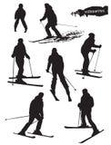 Silhuetas dos esquiadores ajustadas Foto de Stock Royalty Free