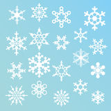 Silhuetas dos flocos de neve Fotos de Stock Royalty Free
