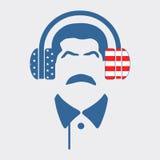 Silhuetas dos fones de ouvido e do homem do bigode Fotografia de Stock