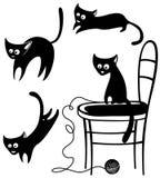 Silhuetas dos gatos Fotografia de Stock