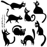 Silhuetas dos gatos Imagens de Stock Royalty Free