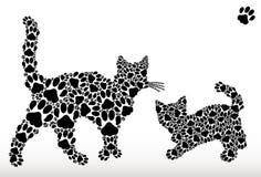 Silhuetas dos gatos das trilhas do gato Imagem de Stock Royalty Free