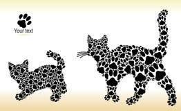 Silhuetas dos gatos das trilhas do gato Fotografia de Stock Royalty Free