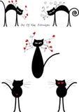 Silhuetas dos gatos pretos dos desenhos animados Imagens de Stock