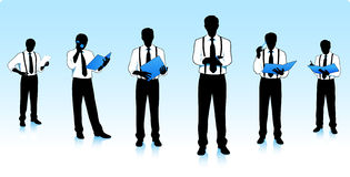 Silhuetas dos homens de negócios Fotos de Stock