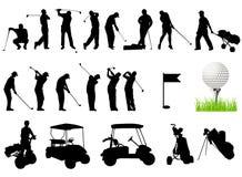 Silhuetas dos homens que jogam o golfe ilustração royalty free
