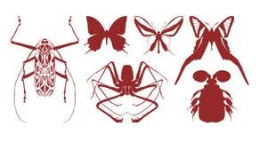 Silhuetas dos insekts 2 Ilustração do Vetor
