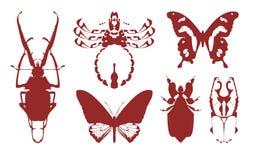 Silhuetas dos insetos Imagem de Stock