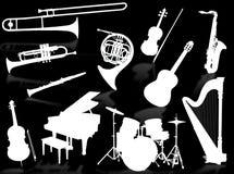 Silhuetas dos instrumentos musicais Foto de Stock Royalty Free