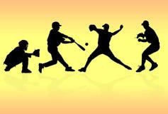 Silhuetas dos jogadores de beisebol Fotos de Stock Royalty Free