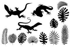 Silhuetas dos lagartos, do geco e das folhas tropicais ilustração do vetor