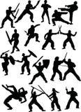 Silhuetas dos lutadores Fotografia de Stock Royalty Free