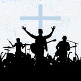Silhuetas dos músicos Adoração do deus ilustração royalty free