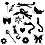 Silhuetas dos objetos Flores, borboletas, gatos Vetor Fotografia de Stock