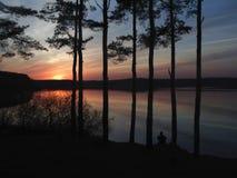Silhuetas dos pinhos e do ser humano no por do sol Imagem de Stock Royalty Free