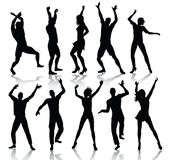 Silhuetas dos povos da dança Imagens de Stock Royalty Free