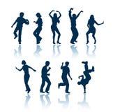 Silhuetas dos povos da dança Fotos de Stock