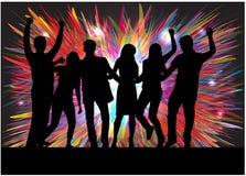 Silhuetas dos povos da dança Fotografia de Stock Royalty Free
