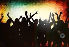 Silhuetas dos povos da dança Fotos de Stock Royalty Free