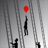 Silhuetas dos povos, homens de negócios que escalam a escada do sucesso Ilustração lisa do estilo Fotos de Stock