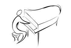 Silhuetas dos povos. música. Imagem de Stock