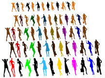 Silhuetas dos povos, mulheres Imagens de Stock