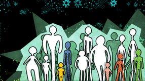 Silhuetas dos povos no fundo cósmico Imagem de Stock