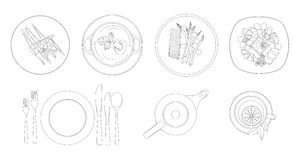 Silhuetas dos pratos, da cutelaria e da louça Vista superior desenho do contorno Ilustração do vetor Imagens de Stock