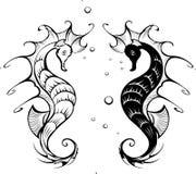 Silhuetas dos seahorses ilustração stock