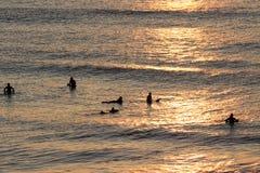 Silhuetas dos surfistas que esperam uma onda perto da praia no por do sol Imagens de Stock