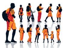 Silhuetas dos turistas Imagem de Stock