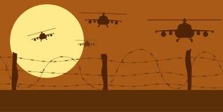 Silhuetas e arame farpado dos helicópteros na zona de guerra ilustração do vetor