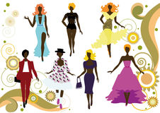 Silhuetas elegantes das mulheres Fotos de Stock Royalty Free