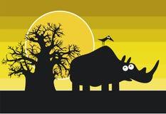 Silhuetas engraçadas do rinoceronte e do pássaro africanos Imagens de Stock Royalty Free