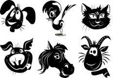 Silhuetas dos animais - um cão, pássaro, gato, porco, ho Fotos de Stock Royalty Free